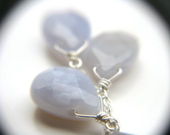 Blue Chalcedony Earrings Silver . Chalcedony Briolette Earrings . Blue Gemstone Cluster Earrings . Blue Stone Earrings