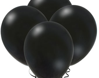 FAST SHIP 12 Black Balloons, Black Birthday Party Balloons,  Black Latex Balloon, Black Baby Shower Balloons, Black Party Decorations