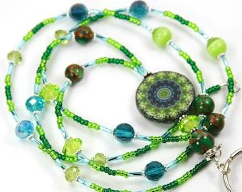 GREEN MANDALA - Beaded Badge Holder, Mandala Lanyard, Green Mandala Lanyard