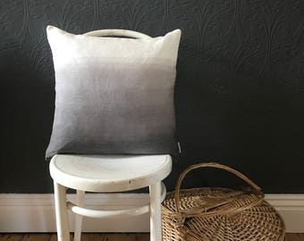 Soft grey and white linen ombre cushion cover. Dip dyed throw pillow / cushion cover in faded charcoal and white.