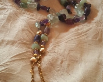 Aventurine and Amethyst Lasso with Matching Necklace