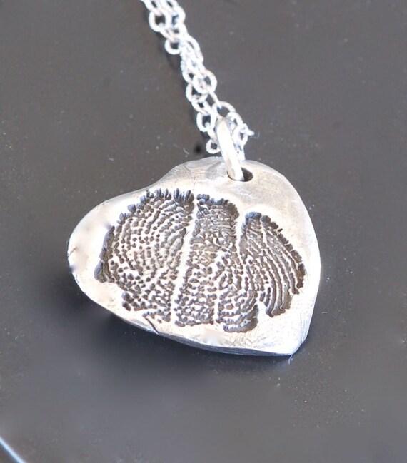 Hospice Fingerprint Jewelry - Angel Wing Heart Pendant