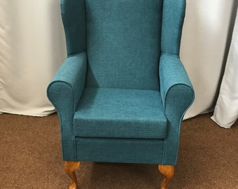 Wing Back Fireside Armchair Small Westoe in Teal Atlanta Fabric