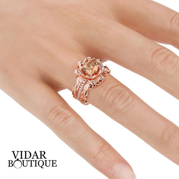 Pink Stone Ring Set Flower Bridal Set Morganite Ring Set 3