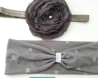 Gray Headband, Gray Toddler Headband, Toddler Turban Headband, Gray Flower Headband, Turban Headband