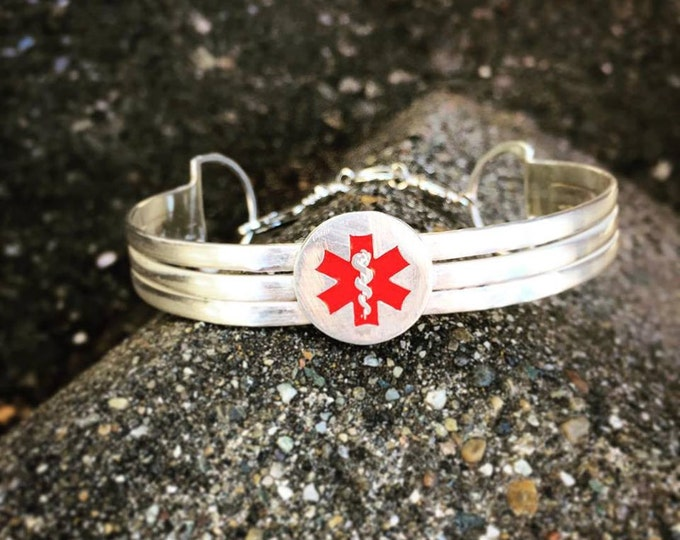Sterling Silver 3-Tier Medical Alert Clasped Cuff - Personalized Custom - Medical Condition - 3 lines of text - Unusual Unique