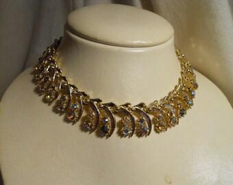 Vintage ART aurora borealis rhinestone choker necklace