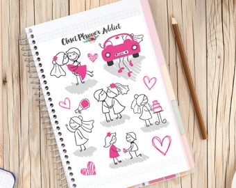 Cute Wedding Stick Figures Planner Stickers | Wedding Planner | Wedding Stickers | Love Stickers | Romantic Hearts (S-064)