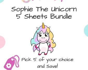 Planner Sticker Kit Bundle | 4 Sophie the Unicorn Activities of your Choice | Matte or Glossy