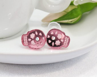 Pink Mirror Acrylic Etched Sugar Skull Stud Earring with Swarovski Crystal