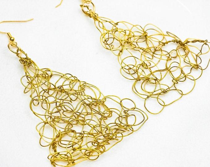 Gold Crochet Wire Earrings