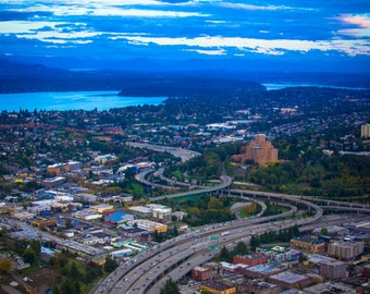 Freeway Through Seattle - sky city water photography