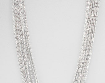 Vintage 1966 Sarah Coventry's Silvery Cascade Necklace (7659) Eight Strands