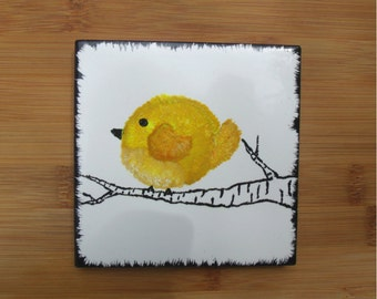 One Hand-painted Bird Coaster - 4x4 Ceramic Tile - Yellow - Decorative Art - Gift