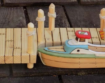 Long Wooden Toy Boat Dock