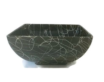 Black and White Spaghetti Pottery Bowl
