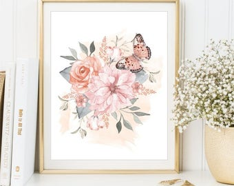 Watercolor Flowers Print, Watercolor Rose Bouquet poster, Watercolor Butterflies Printable art sign, Home Decor, Wall art, DIGITAL FILES