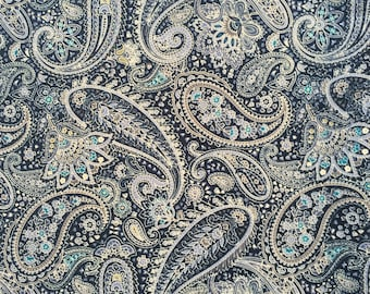 Half yard- Sevenberry Fabric - Blue Paisley  Made in Japan