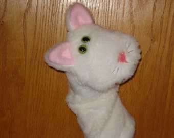 White Cat Kitten Feline Hand Puppet moveable mouth faux fur fabric