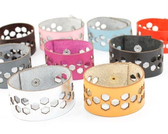 Leather Bracelet - Hexagon Geometric Pattern - Laser Cut Leather Cuff (Choose Your Color and Size)