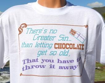 vintage 80s t-shirt greatest sin CHOCOLATE throw away wtf chocoholic tee Large Medium
