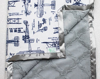 Baby Minky | Aviator Blanket | Airplane Blanket | Airplane nursery | aviator nursery | Baby boy blanket | Navy and Grey | RKC aeroplanes |