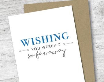 Wishing You Weren't So Far Away Card | I Miss You | Love Card | Long Distance Relationship | Friendship | Greeting Card