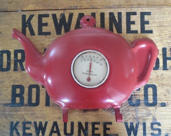 Kitschy Red Teapot Thermometer...Vintage Room Thermometer with Hooks