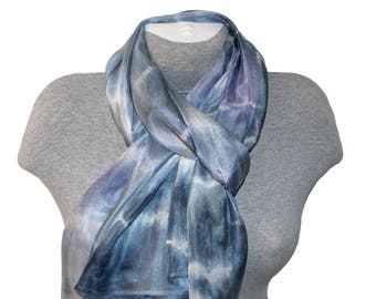Blue Silk Scarf Shawl Hand Painted Silk Scarves  Wrap Hand dyed Designer Art Silk Scarf Neck Scarf Coworker Gift Christmas Mom Gift for Her