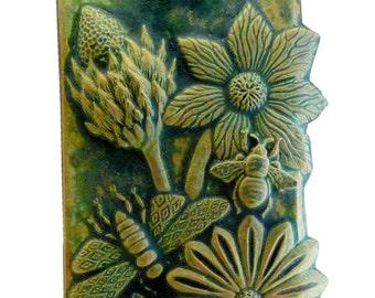 Ceramic Art Tile- Botanical & Bugs in Green Ocher Glaze