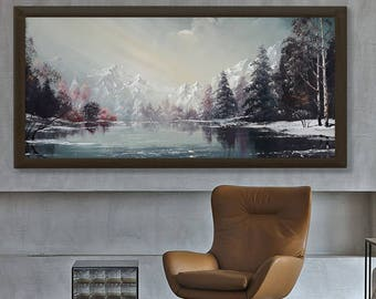 Winter oil landscape oil, mountain landscape, oil painting, realistic landscape, original oil painting, landscape oil, landscape painting