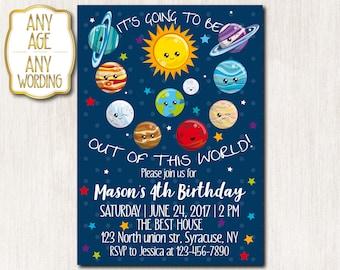 4th Birthday invitation, Space Theme invitation, Solar System invitation, Sun Theme, Moon, Planets, ANY AGE - 1671