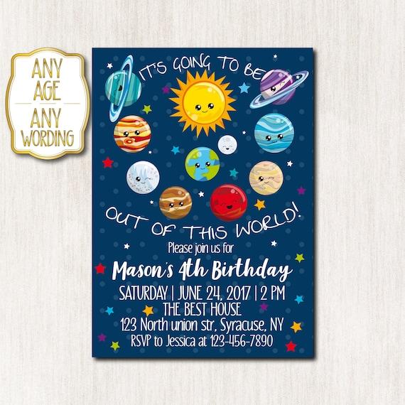 4th Birthday Invitation Space Theme Invitation Solar System