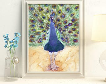 Peacock Print - Peacock Painting - Strut Your Stuff - Peacock Home Decor - Peacock Feathers Art - Peacock Artwork - Oracle Deck Art
