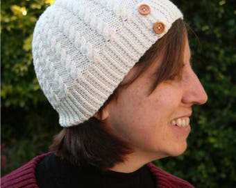Knitting pattern for cabled beanie hat - intermediate knitting