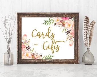Cards and Gifts Sign, Floral Wedding Sign Template, Printable Wedding Signs, Gift Table Sign, PDF file Instant Download /ANGELA