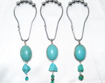 Turquoise Handcrafted Shower Curtain Hooks Set Of 12 Cabochon Nugget Crystal