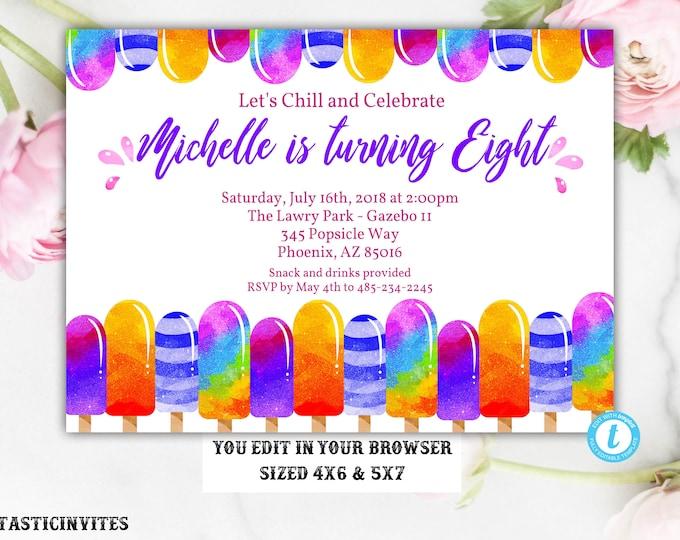 Glitter Popsicle Birthday Invitation Template, Instant Download, Editable, Popsicle, Popsicle Birthday Party, Popsicle Template,Summer Party