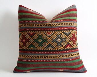kilim cushion cover, 20x20 kilim rug, ethnic pillow, kelim pillow, berber pillow, turkish kilim, kilim pillow case, vintage, turkish pillow