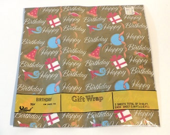 Vintage Laurel Wrapping Paper Gift Wrap Happy Birthday Gold Party Hat Streamers American Greeting 1970's