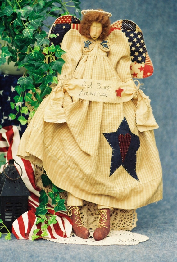 God Bless America - Cloth Doll E-Pattern  24in Patriotic Independence Day Folkart Angel
