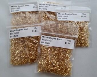 3mm Miyuki Bugle Beads Silver Lined Gold 50grams BGLI-003 Item #111