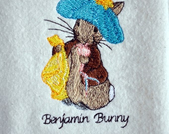 Reserved for Darlene, Beatrix Potter, Benjamin Bunny From Peter Rabbit, Embroidered on Cream Colored Cotton Flannel Square