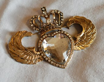 Vintage R Serbin Brooch - 1980s, Antique Gold Metal, Crown, Heart, and Wings, Runway Brooch, Runway Jewelry