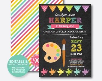 Instant Download, Editable Art Birthday Invitation, Art Invitation, Art Party Invitation, Painting Invitation, Artist, Chalkboard (CKB.88B)
