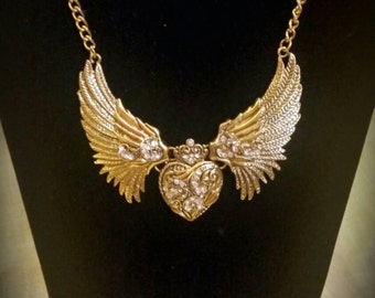 After Life Accessories Handmade Gold winged heart bib chain necklace