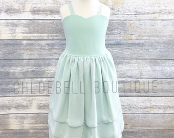 Mint Chiffon Flower Girl Dress - Mint -Pastel Toddler Flower Girl Dress - Chiffon Flower Girl - Chiffon Girls Dress - Modern Toddler Dress