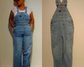 vintage 80s 90s plus size hipster mod overalls blue Union Bay size large coveralls bib pants