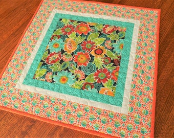 Bright Flower Table Topper in Orange Red Turquoise, Quilted Square Table Topper, Small Tablecloth, Modern Floral Table Runner