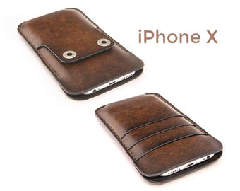 iPhone X leather case - iPhone X case - iPhone X wallet case - iPhone X leather cover
